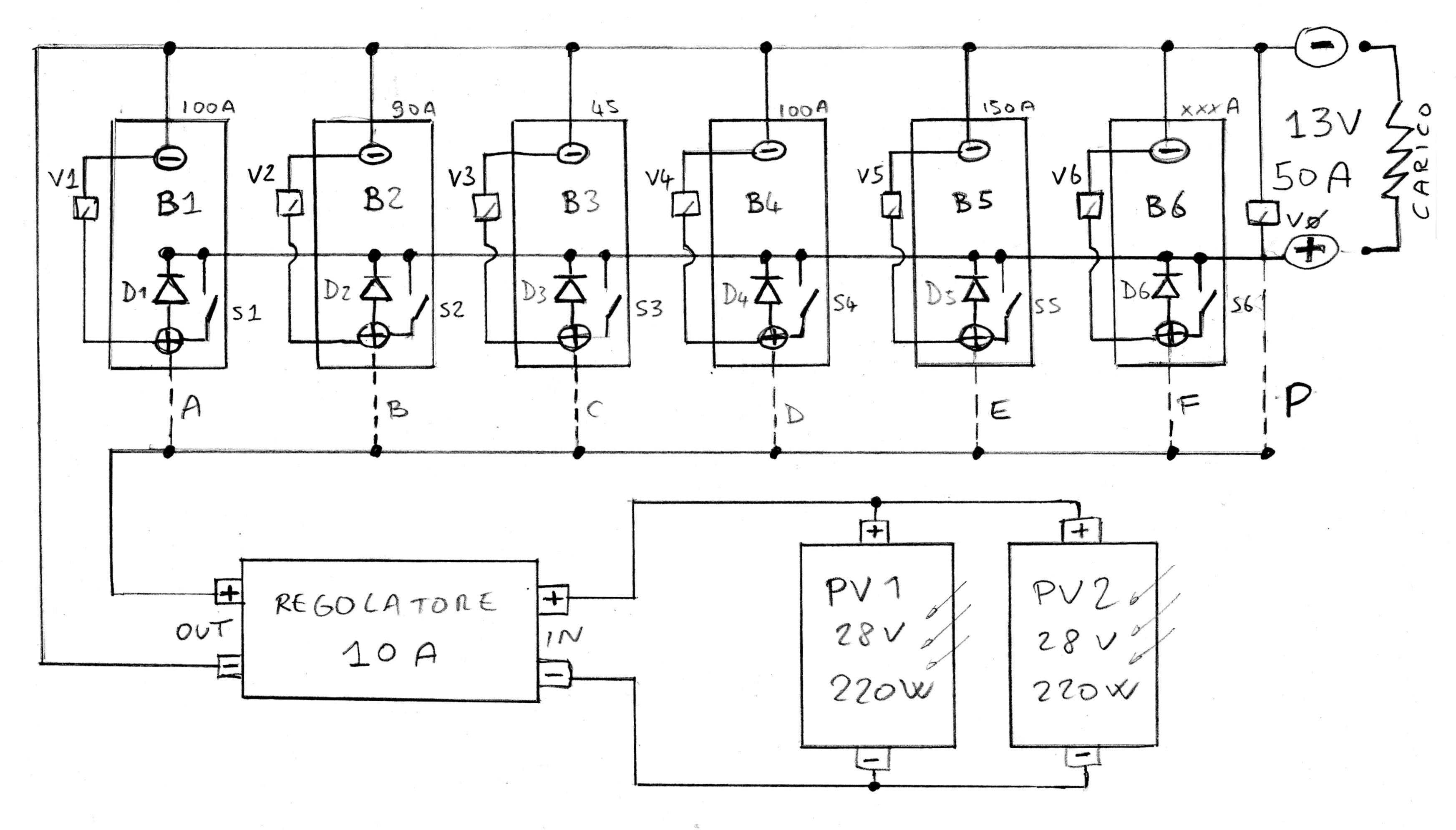 Schema Elettrico Regolatore Di Carica Per Pannelli Solari : Impianto a pannelli solari e batterie